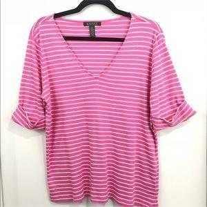 Lauren Ralph Lauren Pink White Striped V Neck